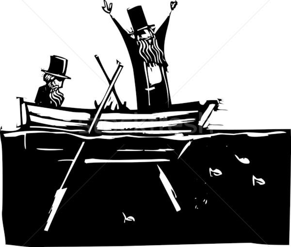 Iki adam tekne mavi kuyrukluyıldız gece gökyüzü iki kişi Stok fotoğraf © xochicalco