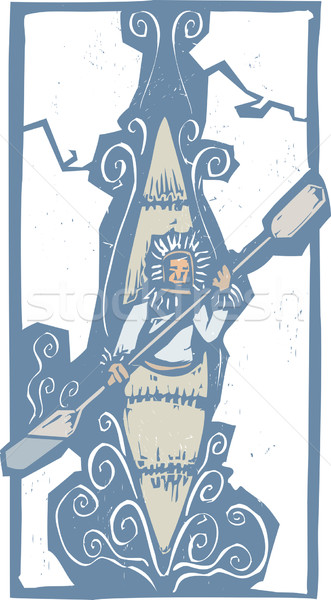 Kajak ijs stijl expressionistische afbeelding Stockfoto © xochicalco