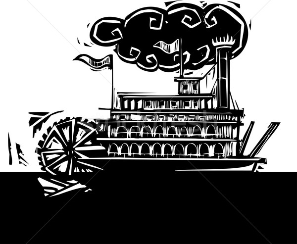Stern wheel Riverboat in dark river Stock photo © xochicalco