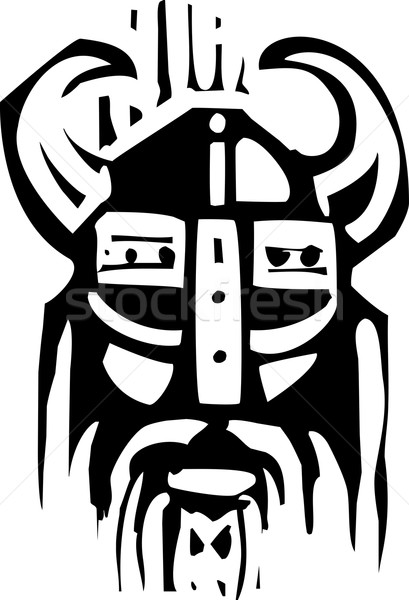 Woodcut Viking Face Stock photo © xochicalco