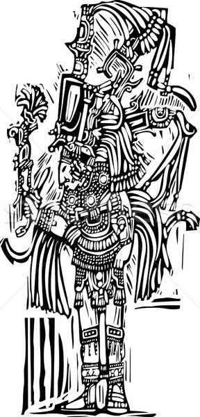 Mayan Woodcut Style 1 Stock photo © xochicalco