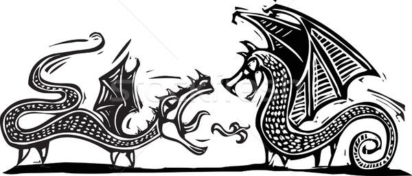 Two Dragons Stock photo © xochicalco