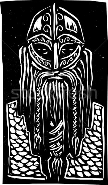 Viking harcos stílus kép szakállas férfi Stock fotó © xochicalco
