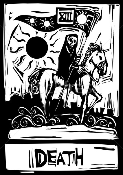смерти Таро карт числа тринадцать лошади Сток-фото © xochicalco