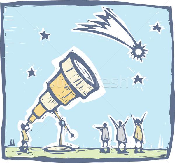 望遠鏡 彗星 男 空 星 ストックフォト © xochicalco
