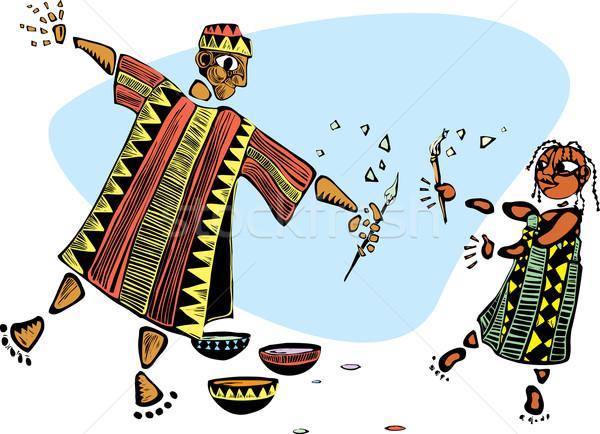 Живопись отец дочь африканских одежды кисти Сток-фото © xochicalco