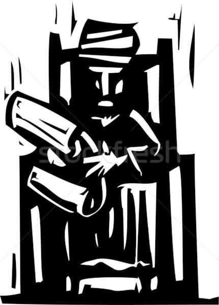 Tulband scroll expressionistische stijl afbeelding man Stockfoto © xochicalco