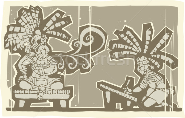 Woodblock Mayan King A Stock photo © xochicalco