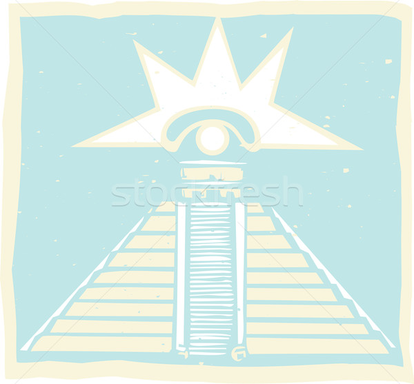 Mayan Pyramid with Venus Eye Glyph Stock photo © xochicalco