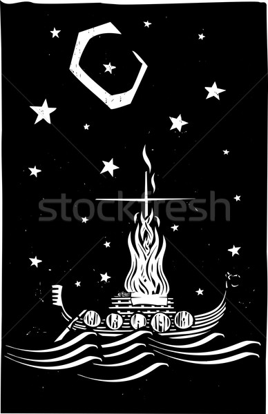 Viking Funeral at Night Stock photo © xochicalco