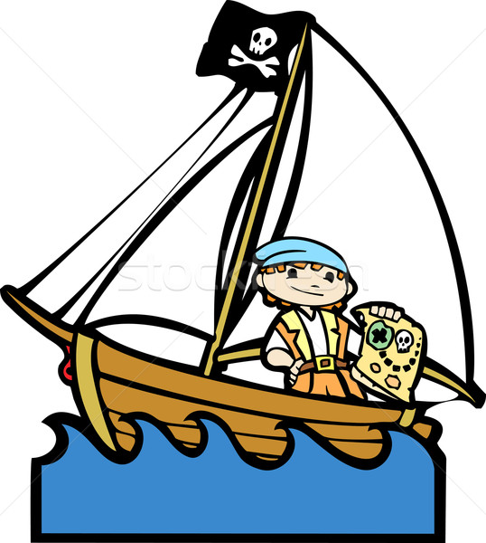 Pirate Boat with Boy #1 Stock photo © xochicalco