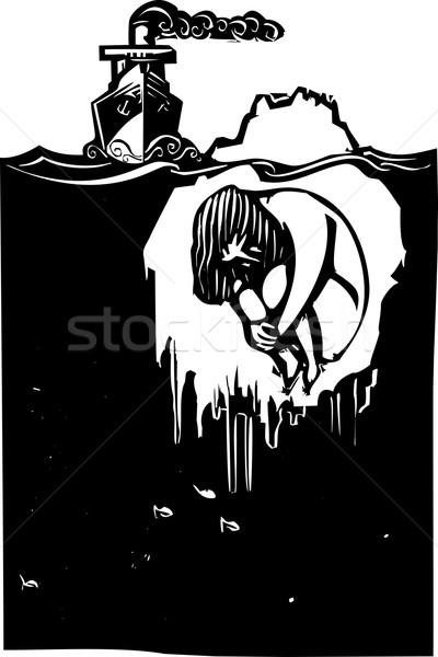 Jéghegy férfi stílus kép gőz hajó Stock fotó © xochicalco