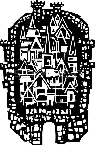 Woodcut Medieval City Stock photo © xochicalco