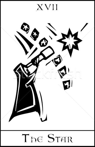 Star tarot karty ekspresjonista stylu noc Zdjęcia stock © xochicalco