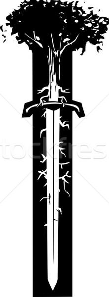 Espada árvore estilo imagem raízes como Foto stock © xochicalco