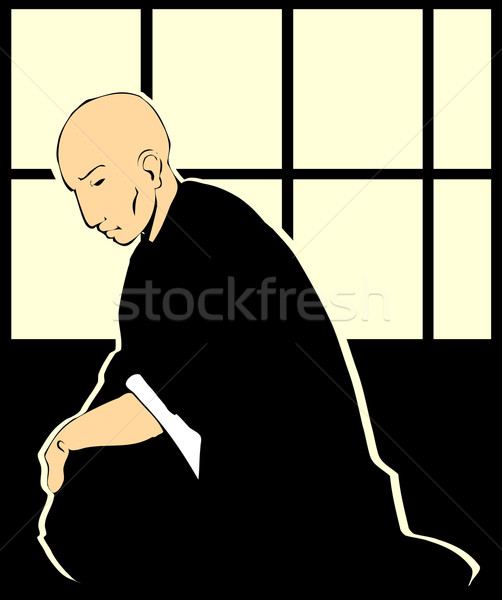 Shinto sacerdote japanese carta schermo Foto d'archivio © xochicalco