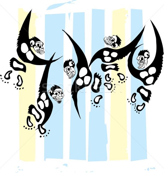 Singes coloré cage groupe stylisé bars Photo stock © xochicalco