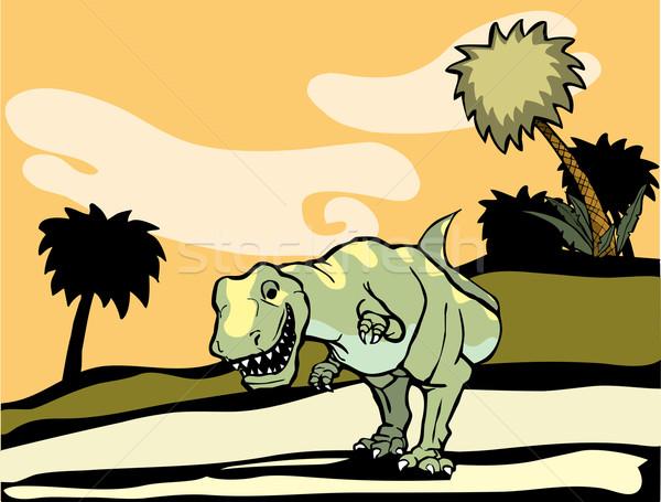 Landschap dinosaurus jacht buit tanden schalen Stockfoto © xochicalco