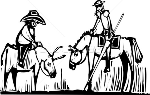 Expressionistische afbeelding karakter paard ezel vector Stockfoto © xochicalco