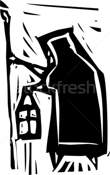 Oude vrouw lamp expressionistische stijl afbeelding personeel Stockfoto © xochicalco