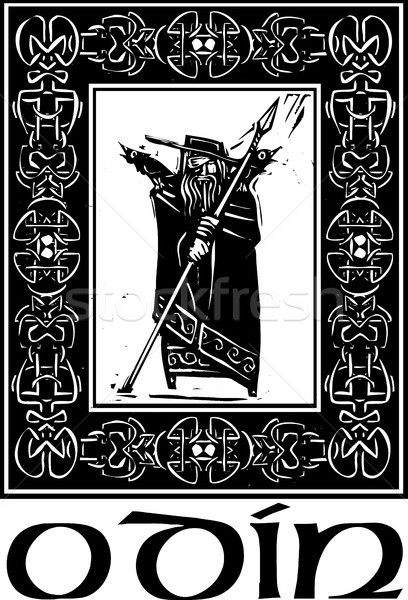 Norse God Odin With Border Stock photo © xochicalco