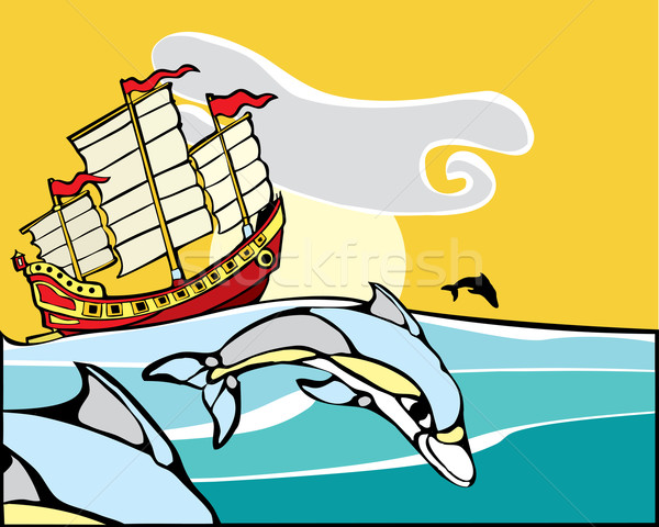 Chinese Junk with dolphins. Stock photo © xochicalco