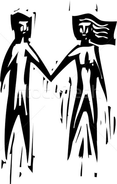 Amanti espressionista stile uomo donna holding hands Foto d'archivio © xochicalco