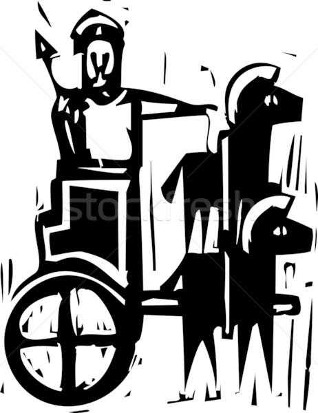 Biga expressionista estilo imagem grego guerreiro Foto stock © xochicalco