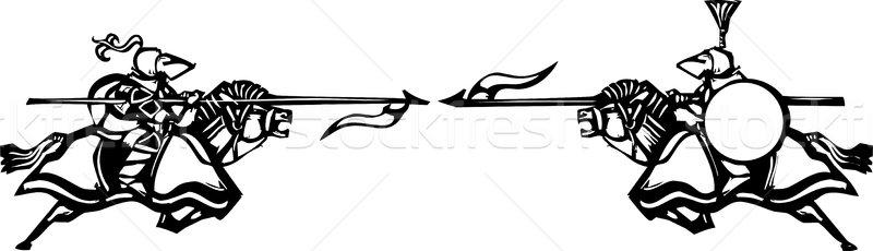 Expressionistische stijl afbeelding twee paard Stockfoto © xochicalco