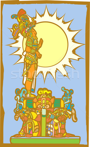 Mayan Lord with Sun and Slaves Stock photo © xochicalco