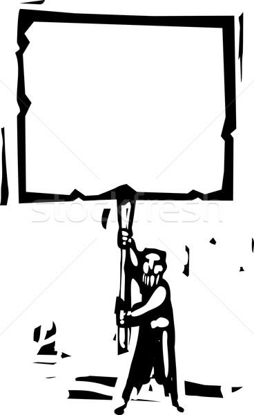 Człowiek podpisania stylu obraz brodaty Zdjęcia stock © xochicalco