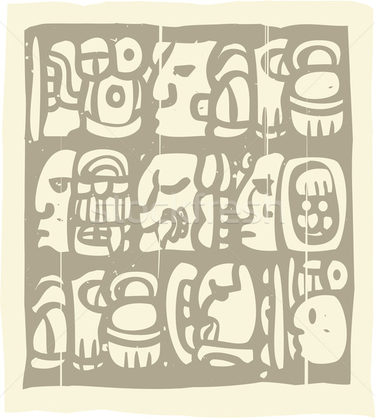 Mayan Glyphs Woodblock Stock photo © xochicalco