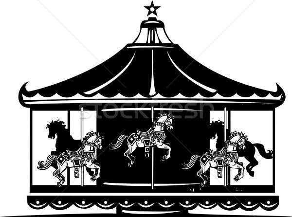 Carrousel stijl afbeelding eerlijke paard dieren Stockfoto © xochicalco