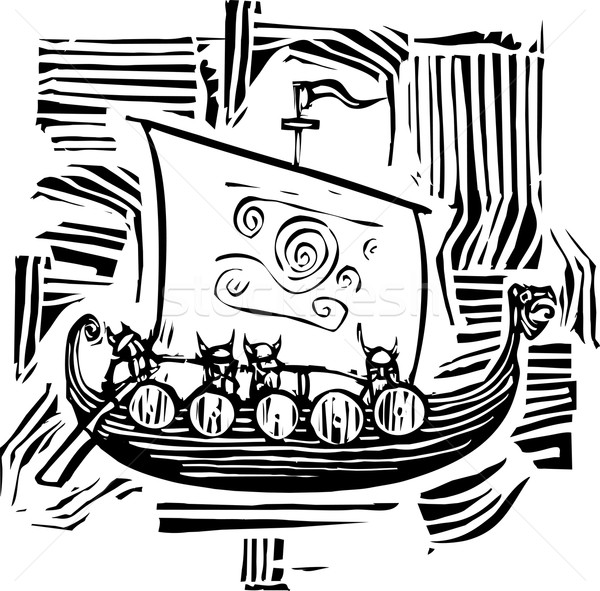 Viking LongShip Woodcut Stock photo © xochicalco