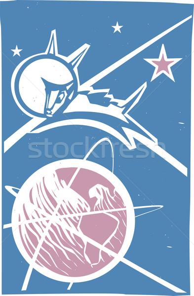 Сток-фото: земле · цвета · советский · плакат · стиль · изображение