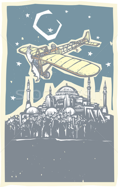 Hagia Sophia Airplane Night Stock photo © xochicalco