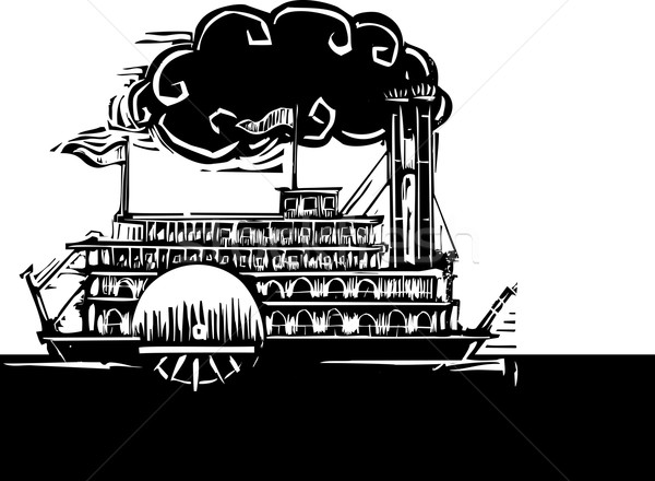 Side wheel Riverboat in dark river Stock photo © xochicalco