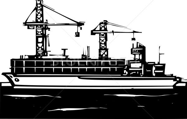 Navio porta-contentores estilo imagem indústria navio poluição Foto stock © xochicalco