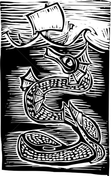 Morza wąż łodzi ocean vintage pływać Zdjęcia stock © xochicalco