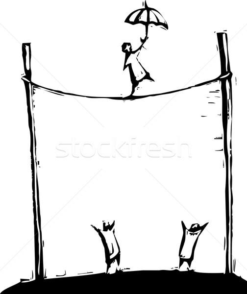 туго натянутый канат ходьбе человек ходьбы цирка Сток-фото © xochicalco