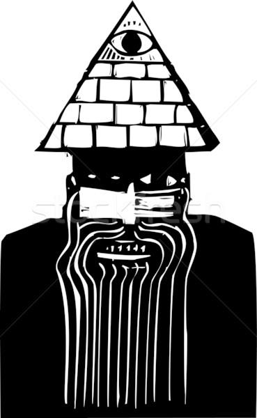 男 ピラミッド 帽子 クレイジー 見える ビジネス ストックフォト © xochicalco