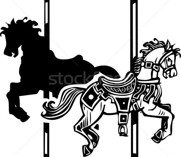 木製 回転木馬 馬 影 スタイル 画像 ストックフォト © xochicalco