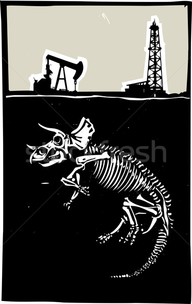 Triceratops Fossil Fuel Exploration Stock photo © xochicalco