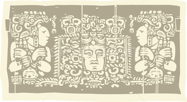 Maya Triptych Woodblock C Stock photo © xochicalco