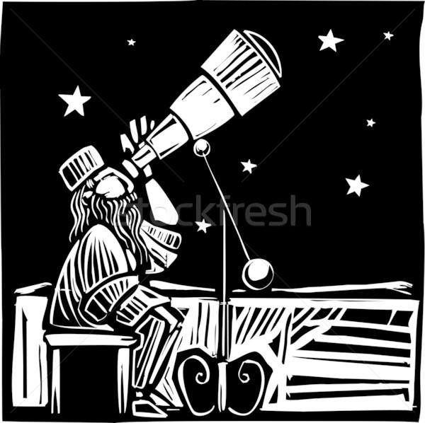 座って スタイル を見て スペース 星 学習 ストックフォト © xochicalco