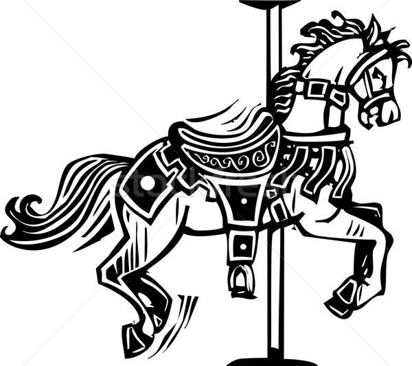 карусель лошади стиль изображение животные Сток-фото © xochicalco