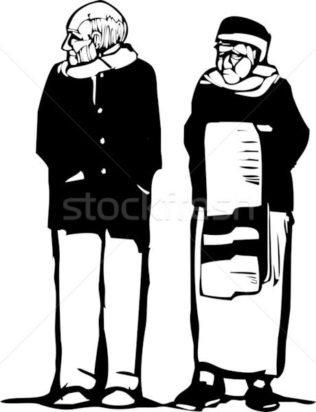 Oude man oude vrouw expressionistische stijl afbeelding vrouw Stockfoto © xochicalco