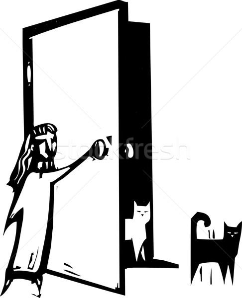 кошки двери стиль изображение девушки открытых дверей Сток-фото © xochicalco