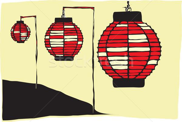 Japonais lanternes trois papier nuit Photo stock © xochicalco