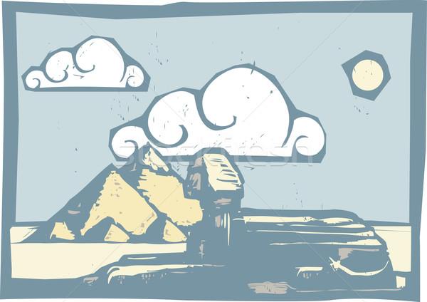 Egipcjanin chmury stylu piramidy podróży obraz Zdjęcia stock © xochicalco